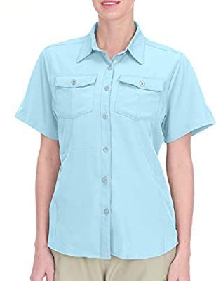 Little Donkey Andy Women's Stretch Quick Dry UPF50+ Short Sleeve Shirt for Hiking, Travel, Camping Blue Size XS