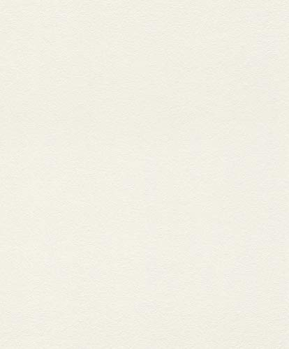 rasch Tapete 402315 aus der Kollektion Uptown – Einfarbige Vliestapete in Weiß – 10,05m x 53cm (L x B)