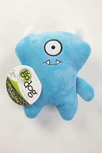 goDog, Stanley Cyclops Monster, Squeaker Dog Toy, Chew Resistant, Durable Plush, Soft, Tough, Reinforced Seams, Blue, Small