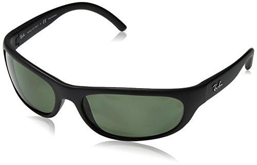 Ray-Ban Men's RB4033 Predator Rectangular Sunglasses, Matte Black/Polarized Green, 60 mm