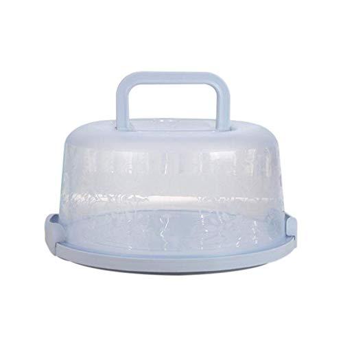 Singeru Kuchenbehälter rund mit Haube Fresh Kuchenbehälter Fresh Tortenglocke Kuchenform Kuchenbox Kunststoff Kuchentransportbox (Ø 22 cm Deko Kuchenbox mit Deckel (Blau)