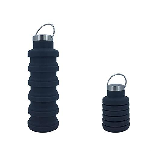 LDH Botella Agua Plegable, Deporte Botella Agua Portátil a Prueba de Fugas de Silicona con Mosquetón, Utilizado para Practicar Senderismo, Correr, Viajar y Fitness (Size : A)