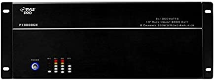 """Pyle 8-Channel Stereo Amplifier - 19"""" 8000 Watt Multizone Whole House System with Speaker Selector Volume Control & LED Audio Level Display - 4-Channel Bridgeable Switches - Rack Mount - PT8000CH"""