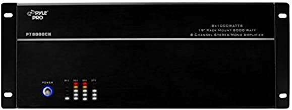 """4 Multi-Zone Bluetooth Stereo Amplifier - 19"""" Rack Mount, Powerful 8000 Watts with Speaker Selector Volume Control & LED Audio Level Display - 4-Ch. Bridgeable Switches - PT8000CH"""
