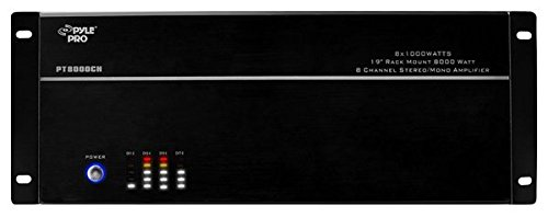 "4 Multi-Zone Bluetooth Stereo Amplifier - 19"" Rack Mount, Powerful 8000 Watts with Speaker Selector Volume Control & LED Audio Level Display - 4-Ch. Bridgeable Switches - PT8000CH"