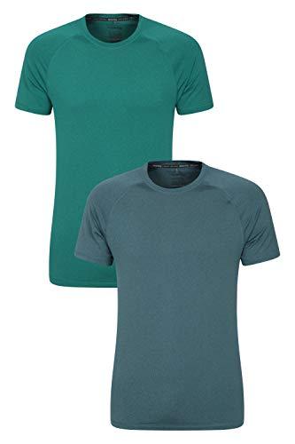 Mountain Warehouse Agra Camiseta mélange para Hombre - Ligera, cómoda, con Cuello Redondo, de Secado rápido y protección UV - para Viajar y Caminar Mezclado XL
