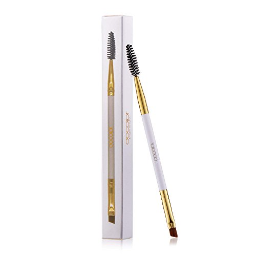 Docolor Duo Eyebrow Brush, Professional Tool, Angled Eye Brow Brush and Spoolie Brush White