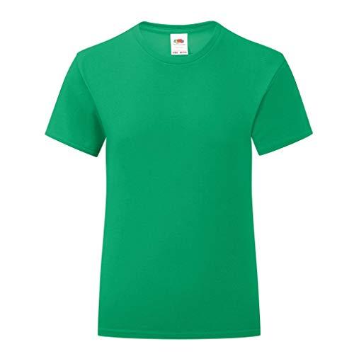 Fruit of the Loom - Camiseta Modelo Iconic para niñas (3-4 Años) (Verde Kelly)