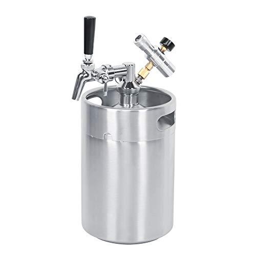 Mini-bierdruk-growler kit 5L biervat systeem met verstelbare tapkraan Co2 drukregelaar Bier Speer draagbare bierdispenser voor craft Beer Draft en HomeBrew MEERWEG AANBIEDING