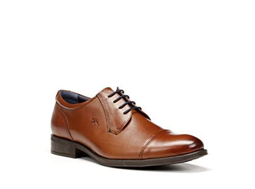 Zapatos Hombre con Cordones FLUCHOS, Piel Color Cuero, Plantilla Extraible - 8412-200