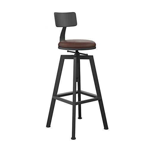 Stühle MEI Barhocker mit Hoher Rückenlehne Retro Drehbarer Esszimmerstühle Fußstütze Runder Holzsitz Höhenverstellbar, Vintage rustikale Küche Pub Barhocker (Farbe : 1001)