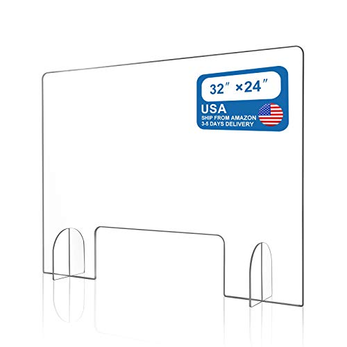 "Sneeze Guard, Plexiglass Clear Shield-Economy 32""x24"" Sneeze Guard for Counter, Freestanding Acrylic Shield for Business and Customer Safety with Pass-Through Transaction Window."