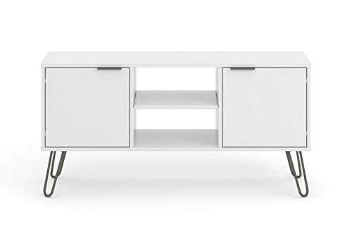 Kosoree White 2 Door 2 Drawer Flat Screen TV Unit Stand Cupboard Living Room Storage