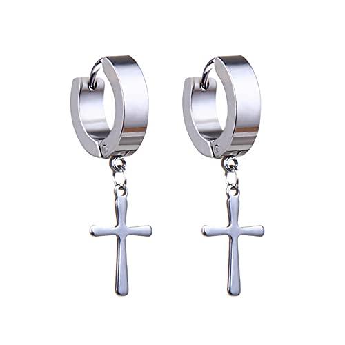 N/A 1 par de Colgantes Cruzados Borla Larga Pendientes de aro para Hombres y Mujeres Acero Inoxidable Punk Metal joyería Style22
