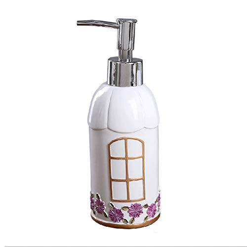 HMEI Dispensador de loción Encimera dispensador de jabón, dispensador Manual Resina Ducha, Capacidad 11.8/10.8 Oz, líquido Recargable Mano dispensador de jabón for el baño (Color : C Type Purple)