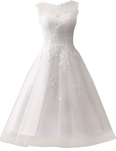 Abito da sposa da donna, abito da sposa, abito da sera, tulle, pizzo linea A, lunghezza polpaccio bianco 48