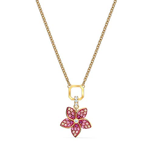 Swarovski Pendente Tropical Flower, Rosa, Placcato Oro