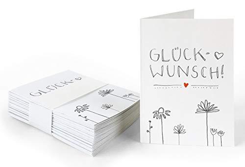 25 Geschenkanhänger - Glückwunsch! - Weiß mit Blumen, originelle Mini Glückwunschkarten zum Geschenke Beschriften, Handlettering, edel exklusiv individuell, A7 Recyclingpapier Klappkarten