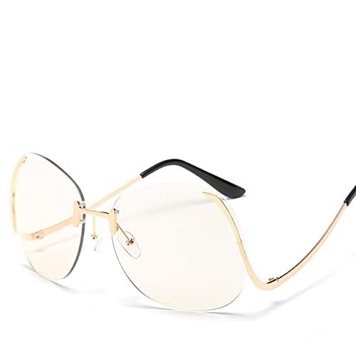 Gafas De SolnuevoDiseño De Marca Transparente Mujeres Hombres Gafas De Sol con Espejo Drive Gafas De Sol Hombre Mujer Moda Gafas con Marco Dorado