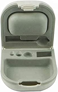 Hearing Aid Case with Cleaning Brush Battery Storage Slot Hard Small 0.59