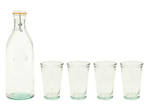 Jamie Oliver Wasserflasche mit 4 Gläsern aus Recycleglas