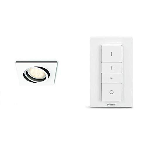 Philips Hue Milliskin Foco Inteligente Empotrable LED GU10, 5.5 W, Luz Blanca de Cálida a Fría + Hue Interruptor/Mando Inteligente Inalámbrico, Portátil, Posibilidad de Montaje en Pared