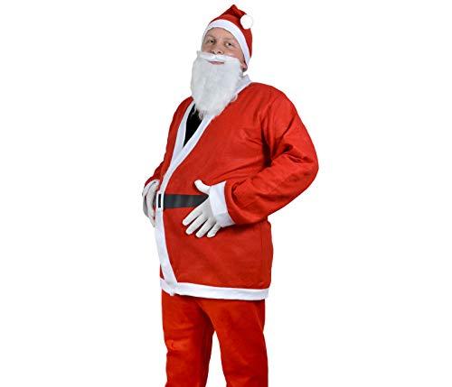 Santa Magix Weihnachtsmannkostüm 6-teiliges Set Weihnachtsmann Nikolaus Kostüm traditionell komplett mit Mütze Oberteil Hose Bart Gürtel weiße Handschuhe WM-74