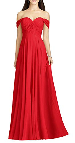 YnanLi Dress Women's Off The Shoulder Bridesmaid Dresses Long for Wedding Formal Party Gown Chiffon Evening Prom A-Line Skirt Red-14