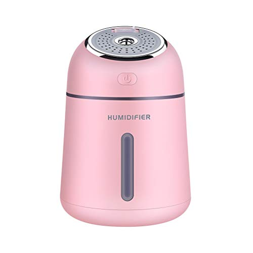S2Y Mini USB Ventilator Mit Luftbefeuchterfunktion, Wasserversorgung Für LED-Nachtlicht des Aromatherapie Standventilator,Rosa,9.6 * 9.6 * 13.9cm