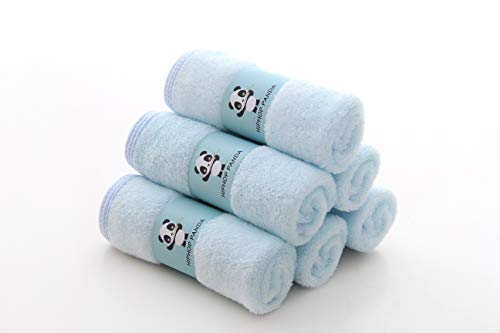 Baby Washcloths- Hypoallergenic 2 Layer Ultra Soft Absorbent Towel - Newborn Bath Face Towel - Natural Reusable Baby Wipes for Delicate Skin - Baby Registry as Shower (Blue, 6 Pack)