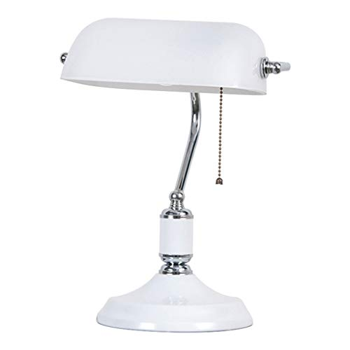 Lfixhssf antieke banker tafellampen bibliotheek Office Desk klassieke nostalgie tafellamp met lampenkap van wit glas en ijzer E27 Lfixhssf