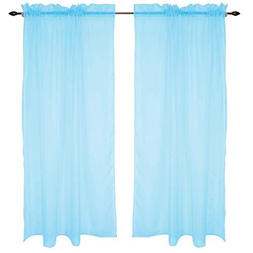 TupTam Cortinas Transparente para Habitación Infantil, Azul Claro, 140 x 245 cm