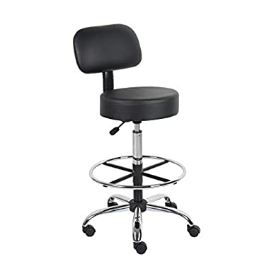 Boss Office Products B16245-BK Be Well Medical Spa Drafting Stool with Back,  Black