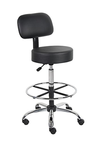 Boss Office Products B16245BK Be Well Medical Spa Drafting Stool with Back  Black