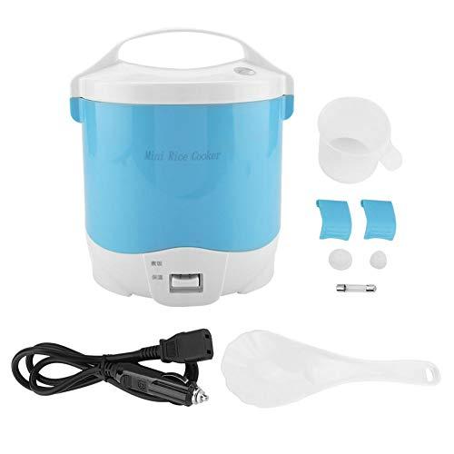 Arrocera mini de 1.6 litros, 24 V 180 W Arrocera eléctrico de alimentos Fiambrera portátil para calentar alimentos con cazo extraíble Olla de vapor Cuchara para medir la taza para Camión (Blue)