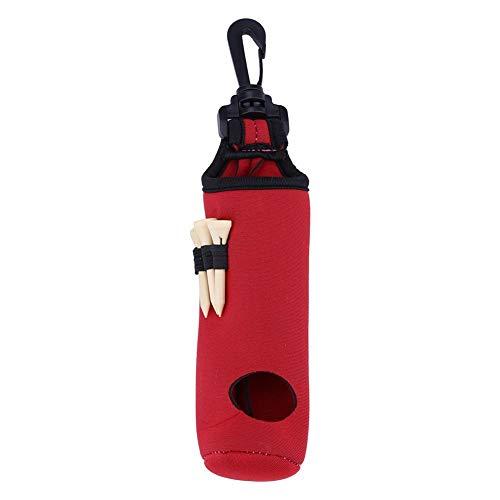 Dwawoo Golfballtasche, Golf Tee Utility Bag Neopren Golfbälle Aufbewahrungspack mit 3 Golf Tees(Rot)
