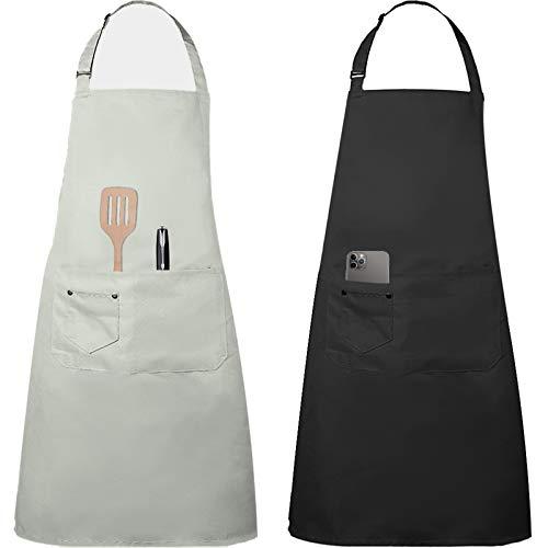 Tonsooze Grembiule da Cucina Chef, Cucina Grembiule Ristorante Barbecue Regolabile Grembiuli con Tasche Chef di Cucina, Impermeabile, Gembiule Cucina Uomo Donna, 2 Pezzi