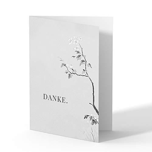 (10 x) Trauer Dankeskarten Danksagung Trauerkarten Beileid Karten Beerdigung Bestattung - Blüten