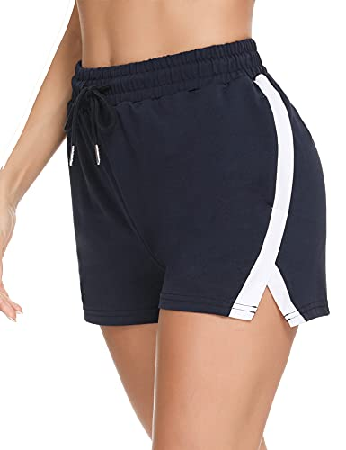 Wayleb Kurze Hosen Damen Sommer Baumwolle Shorts Sweatpants Frauen bequem mit 2 Taschen weiche Pyjama-Shorts Stretch Kordelzug Jogginghose Navy Blau S