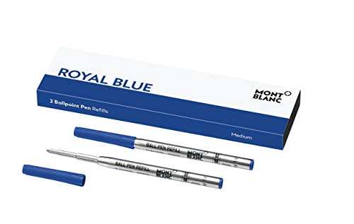 Montblanc Ballpoint Pen Refills (M) Royal Blue 124493 � Refill Cartridges with a Medium Tip for Montblanc Ball Pens � 2 x Blue Ballpoint Refills