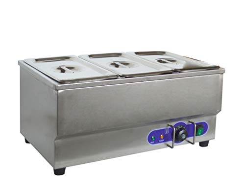INTBUYING 110V 3-Pan Commercial Grade Stainless Steel Bain Marie Buffet Food Warmer Steam Table for...