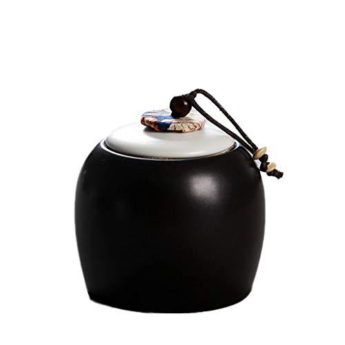 XUSHI Pet Urn Trompete Exquisite Souvenir Beerdigung Start Put Souvenir Katze und Hund Hamster Kaninchen Vogel Tod Keramik Jar (Color : Black)