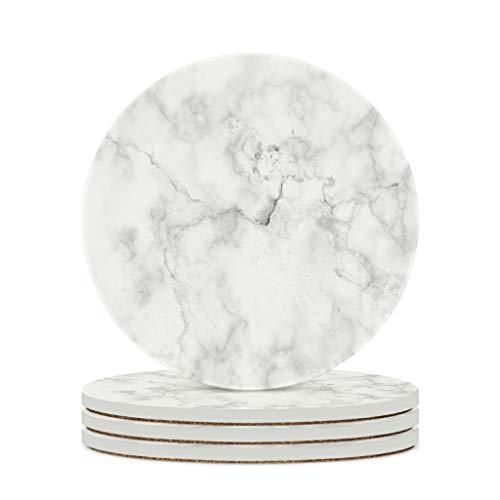 Fineiwillgo Posavasos de cerámica con textura de mármol, redondo, protector de cerámica, con base de corcho impreso, para jarrones, diámetro de 9,8 cm, color blanco, 4 unidades