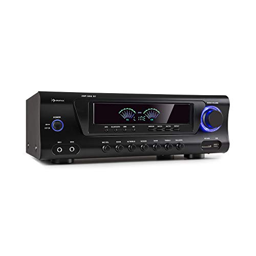 auna AMP 3800 BT 5.0 - Amplificatore Hi-Fi, 2 x 120 Watt + 3 x 50 Watt RMS, Bluetooth, USB-Port, SD-Slot, 2 Connessioni Microfono, DVD-Stereo-In, Stereo-Line-Out, Nero