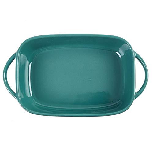Grill Pans Keramische Risotto Schaal, Kan Gebruikt worden in Magnetron Oven, Huishoudelijke Ovale Hoge Temperatuur Bakplaat Groen