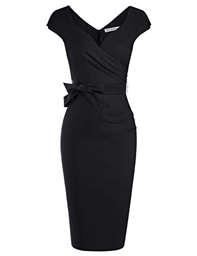 MUXXN Womens Little Black Sweetheart Collar Ruched Slim Business Dress (Black S)