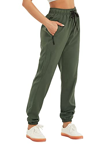 SPECIALMAGIC Women's Joggers Quick Dry Running Hiking Pants Lightweight Athletic Workout Track Pants Outdoor Trousers Zipper Pockets Army Green L