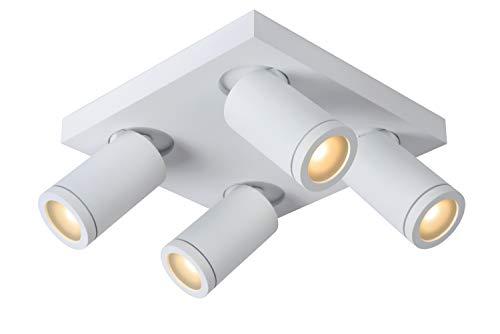 Lucide TAYLOR – Foco de techo para cuarto de baño – LED Dim to Warm – 4 x 5 W 2200 K/3000 K – IP44 – Blanco