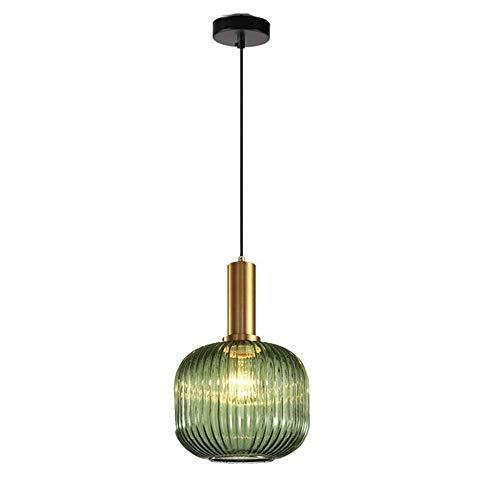 MZStech Lampada a sospensione moderna, lampada a sospensione in vetro verde con portalampada in rame dorato