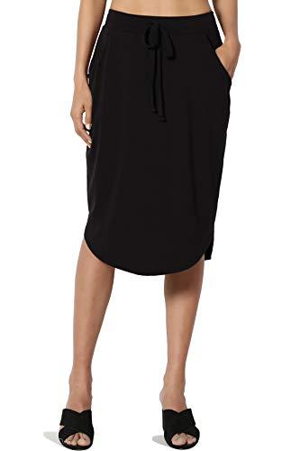 TheMogan Women's Drawstring Curved Hem Soft Jersey Pocket Midi Skirt Black L